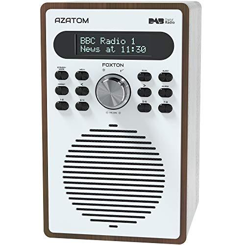 Azatom Foxton DAB/DAB+ Digital FM Radio/despertador/efecto madera/toma de auriculares/alimentación de red (nogal)