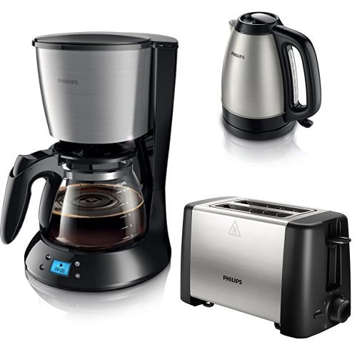 Frühstücksset schwarz/metall - Philips HD7459/20 Daily Filter-Kaffeemaschine, Timer, schwarz/metall mit Toaster und Wasserkocher