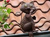 Filou, die Katze im Kupfer Look, Dachrinnen Deko f. Zaun, Geländer, Dachrinne