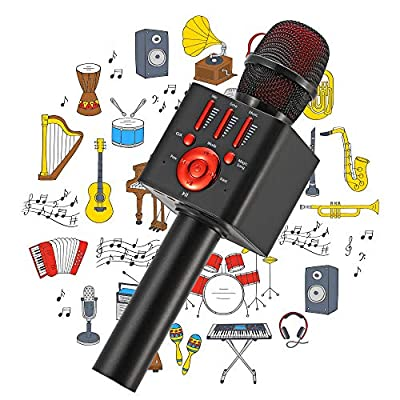 Ankuka Karaoke Wireless Microphone for Kids, Portable 4 in 1 Bluetooth Karaoke Machine Speaker Toys, Gifts for Christmas Birthday (Black)