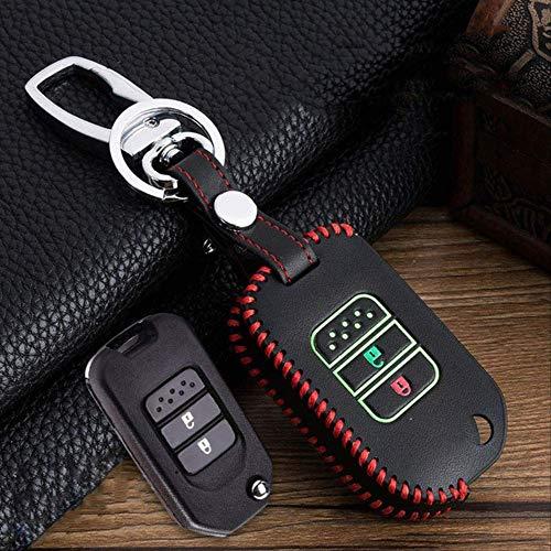 FINIMY Autoschlüssel Abdeckung Leuchtende Hand-Nähen Leder Autoschlüssel Fall für Honda Civic Cr-V Hr-V Accord Jade Crider Odyssey 2015-2018 AutozubehörF-Red