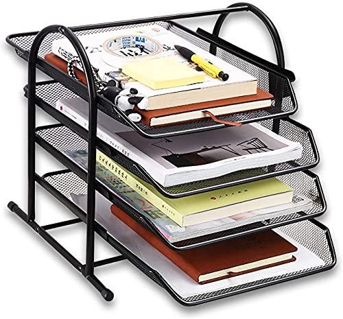 Dokumentenablage aus Metall, 4 Schubfächer Briefablage Organizer, Mesh Design Schreibtischablage für A4 Dokument, Schwarz