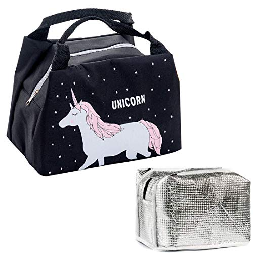 Bolsa Térmica Almuerzo Impermeable Fiambrera Isotermica,bolsa de almuerzo unicornio bolsa porta alimentos Aislamiento TéRmico Almuerzo Caja Almuerzo Bolso Cooler Bag para Trabajo Oficina Playa Viaje