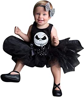 Lazzboy Disfraz de bebé Mono con Estampado de Pesadilla de Halloween + Traje de Falda con Figura