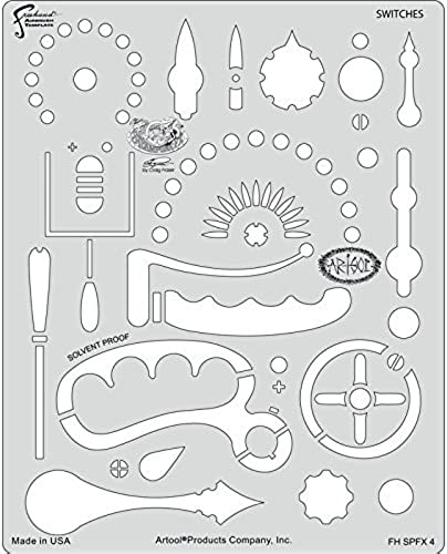 Artool Freehand Airbrush Templates, Steam Punk Fx Template - Switches by Iwata-Medea