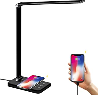 LED Desk Lamp with Wireless Charger, USB Charging Port, BIENSER Table Lamp with 10 Brightness Level, 5 Lighting Color, Dim...