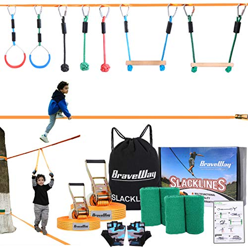 BRAVEWAY Slackline Kit Ninja Line Monkey Bar Kit Obstacle Course with 2 x 40-ft Slacklines Included 8 Accessories Outdoor Play Equipment for Kids Adults Family Backyard
