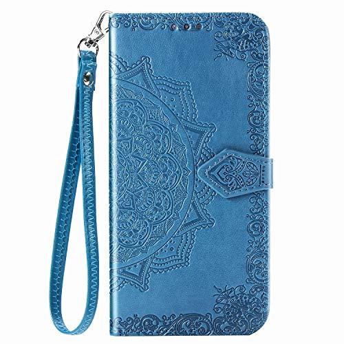 Unichthy Schutzhülle für Samsung Galaxy Z Fold 2 5G, stoßfest, PU-Leder, Klapphülle, Mandala-Prägung, Magnetverschluss, Standfunktion, Kartenfächer, mit Gurt, Blau