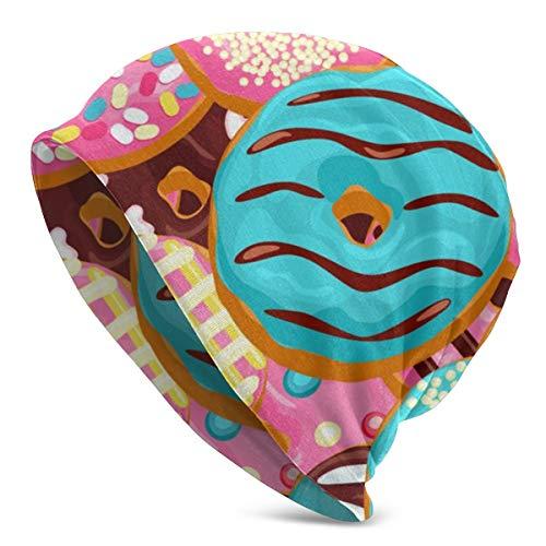 Amoyuan Donut Roze Chocolade Blauwe Munt Beanie Slouch Winter Schedel Gebreide Mode Cap voor Mannen Vrouwen