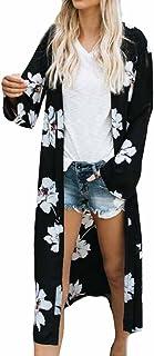 FRAUIT Damen Lange Sommer Kimono Cardigan Top Bluse Blumen Tops Bikini Cover Ups Bademode Bandage Vertuschen Bluse Beachwear