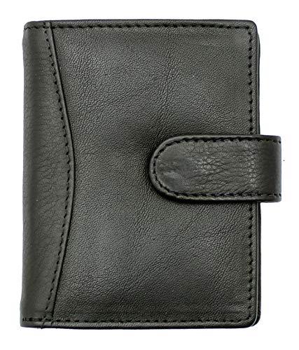 Ras Kreditkartenetui / Geldbörse aus weichem Echtleder, Schwarz, mit 20 durchsichtigen Kunststofftaschen, 4 Kartenfächern - mit Geldscheinfach - 601