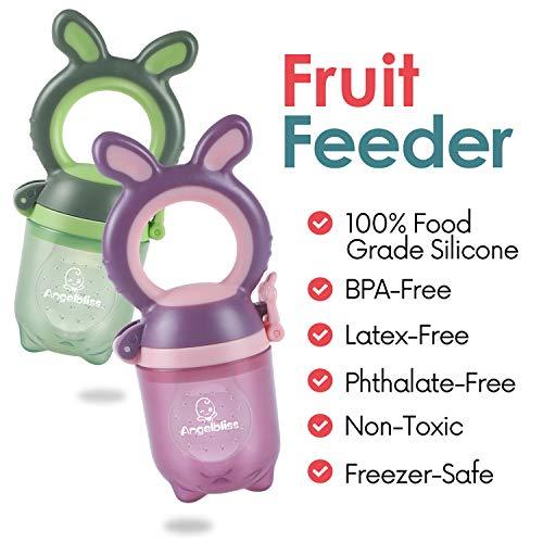 ANGELBLISS Fruchtsauger Baby/Schnuller, Schätzchen Schnuller Gemüse sauger für 3-24 Monate, 6 Silikonbeutel Beißspielzeug,BPA-frei(2 Stück) - 2