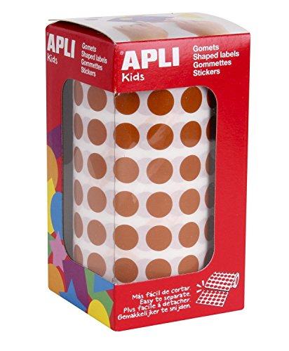 Apli 11481 - Rouleau de 5192 gommettes rondes - couleur : Marron - Dimension : 10,5 mm