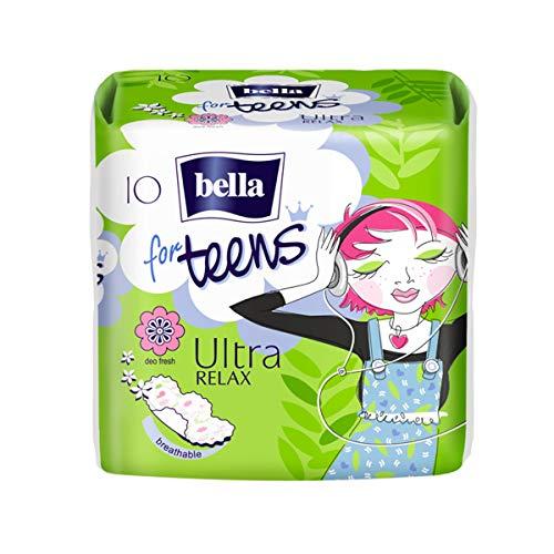 Bella For Teens Ultra Binden Relax: Ultradünne Binden Für Teenager, 1er Pack (1 x 10 Stück), Mit Flügeln + Frischeduft