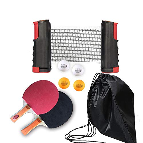 Lowest Price! HEXL Ping Pong Paddle Set with Retractable Net,2 Premium Table Tennis Rackets,4 Ball...