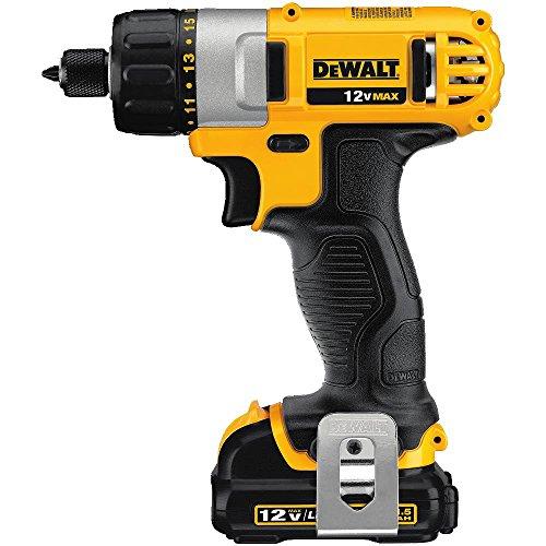 DEWALT 12V MAX Cordless Screwdriver, 1/4-Inch Hex Chuck, 1-Inch Bit Tips (DCF610S2) , Yellow , Medium
