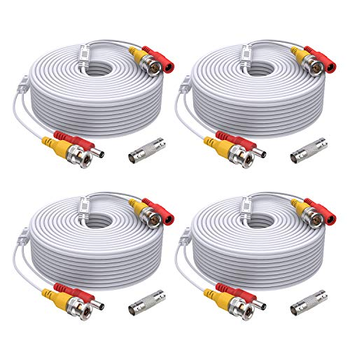 ANNKE 4 Pack 150 Feet Security Camera Cable, All-in-One BNC Video and Power CCTV Security Camera Cable Wire with Two Female Connectors for Security Camera System(White)-W100