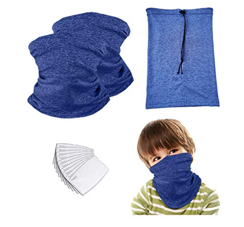 Adjustable Kids Neck Gaiter Face mask with Drawstring Children Bandana Mask with Filter Balaclava for Boys Girls (Blue 2 Pack Child)