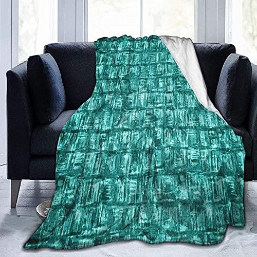 Manta de Forro Polar de Tela Turquesa con Cuadrados, Manta de Micropolar Ultra Suave para Mantas y Mantas de sofá de Dormitorio, 60 'x 50'