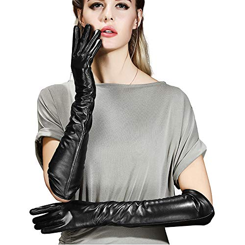 Vocono Womens Long Leather Gloves Touchscreen Texting Opera Evening Dress Driving Gloves M