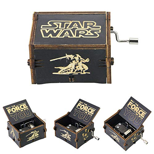 LYTIVAGEN Klassische Spieluhr Holz Musik Box Kreative Holz Handwerk Handkurbel Spieluhren mit Retro Schnitzen, ein bestes Geschenk für Kinder, Freunde, 6 x 5 x 3.8cm