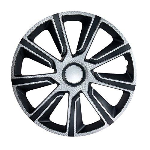 15pulgadas bicolor Tapacubos verón Carbon (Plata/Negro). Tapacubos apto para Opel Vehículos