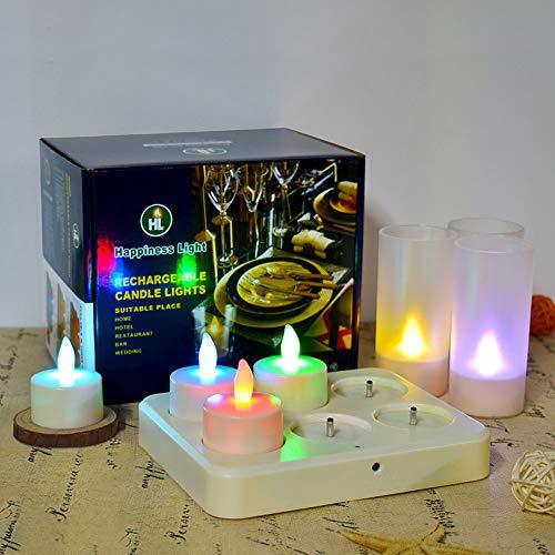 HL Flammenlose Kerzen Wiederaufladbare Teelichter 3 Stunden Aufladen für 42±3 Stunden Dauerhaftes Flackern Farbwechselkerze DC-LED-Licht mit Romote-Steuerung (RGB, 6er-Pack)