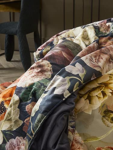 ESSENZA Quilt Claire Blumen Pfingstrosen Tulpen Polyester Indigo Blue, 220x265 cm