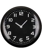 CN Kylskåpsklocka köksklocka magnetisk mini rund spegel klocka väggklocka badrum bokhylla analog klocka med magnet 8 cm (svart)