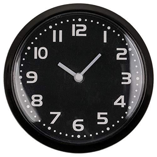 CN Kühlschrankuhr Küchenuhr Magnetisch Mini Rund Spiegeluhr Uhr Wanduhr Badezimmer Bücherregal Analoguhr mit Magnet 8cm (Schwarz)