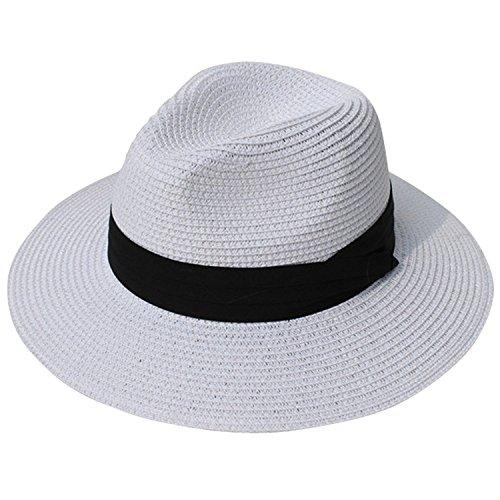 DRESHOW Mujeres Sombrero de Panamá Sombreros de Paja Sombrero de Verano Sombrero de Playa Fedora...