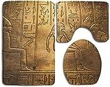 Alfombra de Baño Colección Egipcia Papiro de Arte Antiguo Egipcio Que Representa el Diseño Del Ojo de Horus Imprimir Gainsboro Perú 3 Piezas Alfombrilla de Baño Set Alfombra de Contorno y Tapa