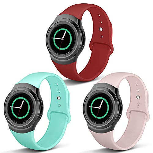 Compatible Gear S2 Band, NAHAI Soft Silicone Straps Sport Bands Adjustable Replacement Wristband Watch Bracelet for Samsung Gear S2 Smartwatch, Small, 3 Pack-Sand Pink/Teal/Red