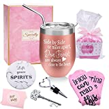 Birthday Gifts for women Best Friends Sister Funny Friendship Gifts Basket for Her Friends Female - Side By Side or Miles Apart Friends 12oz Wine Tumbler with Lid Straw Opener Coaster