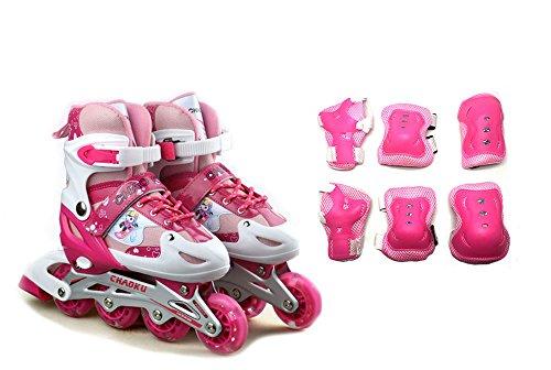 Tante Tina Kinderinliner größenverstellbar mit Schutzset - Inlineskates für Kinder verstellbar in 4 Größen - Pink - Größe S (31-34)