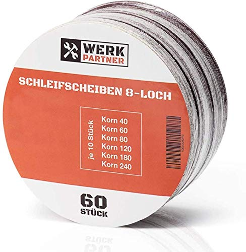 Werk-Partner - 60 x Schleifscheiben 125mm Klett für Holz, Plastik, Lack, Metall & Kunststoff - Körnung je 10 x 40/60/80/120/180/240 - Ø 125mm Schleifpapier für Exzenterschleifer