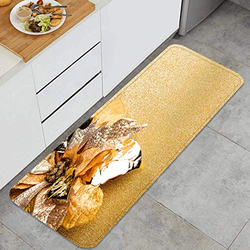 TTLUCKY Multi Use Kitchen Rug Sets,branch christmas tree poinsettia,Thick Cushioned Waterproof Kitchen Floor Duty Comfort Mats Super absorbent and non-slip