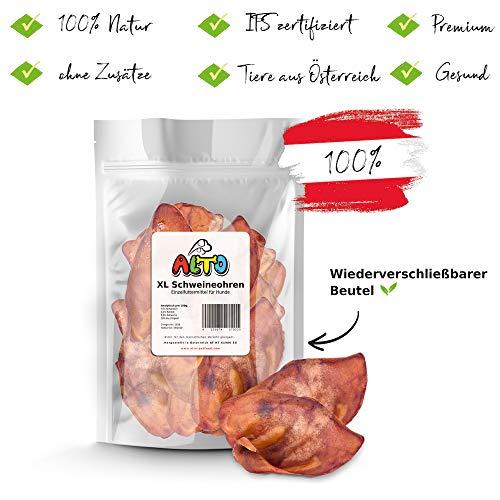 Alto-Petfood - 1200g ganze Schweine-Ohren für Hunde | getrocknete Schweineohren auch für Welpen | 20 Stück - 100% Natürlich