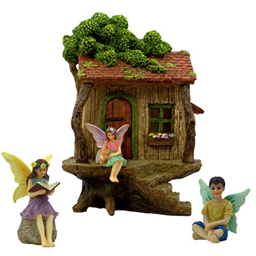 PRETMANNS Fairy Garden House Kit – Fairy Tree House (22.8 cm h) with Accessories - 2 Girl Fairies and a Boy Fairy - Door can open wide – Fairy Garden Supplies 4 Piece