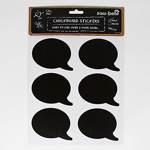 Sass en Belle Krijtbord Speech Bubble Sticker Etiketten x 12