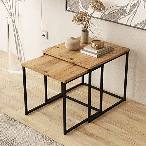 Yurupa Beistelltisch,Kaffeetisch,Sofatisch,Tisch Set,2 er Set Couchtisch/tische,2 teilig Satztisch,Industrie Design,Vintage Look VG8-A