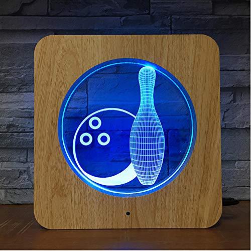 Yhhzw Bowling Spiel Abs 3D Led Kunststoff Nachtlicht Diy Lampe Tischlampe Kinderfarben Geschenk Home Decor