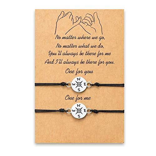 Braccialetti di amicizia di relazione per 2 braccialetti fatti a mano coordinati Braccialetti a cordoncino a lunga distanza con braccialetti BFF Set regalo di compleanno per coppia Donna Ragazza