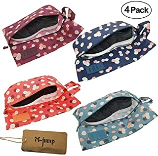M-jump 4 Pack Shoe Bags,Portable Oxford Travel Shoe Bags with Zipper Closure (4 Pack)