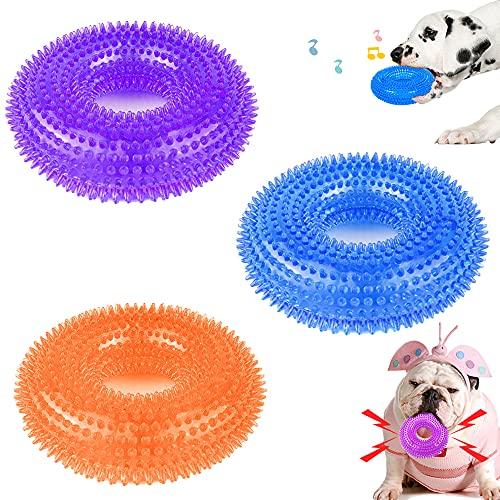 3 Stück Quietschspielzeug für Hunde, Hunde Kauspielzeug quietschend, Hund Zahnpflege Spielzeug,Gut für Spielen,Zahnreinigung und Zahnfleisch Massieren,für Kleine Welpe