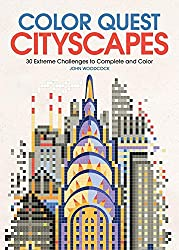 color quest cityscapes color by number book