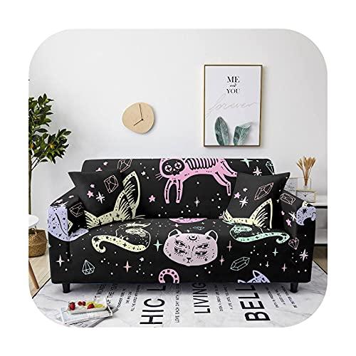 Elastischer Sofabezug mit Cartoon-Motiv, für Wohnzimmer, Sessel, Sofabezug, rutschfest, für 1/2/3/4-Sitzer, CQ80-8-4-Sitzer, 235-300 cm