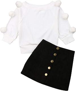 Asashitenel 2Pcs Toddler Baby Girls Long Sleeve Ball Knit Sweater Top + Button Pencil A-Line Skirt Set Fall Winter Clothes