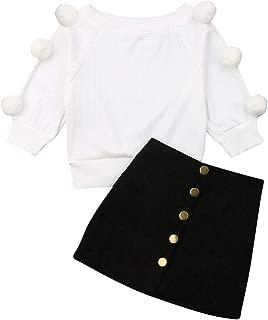 2Pcs Toddler Baby Girls Long Sleeve Ball Knit Sweater Top + Button Pencil A-Line Skirt Set Fall Winter Clothes