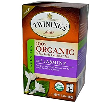 Twinings of London Organic and Fair Trade Certified Jasmine Green Tea Bags 20 Count  Pack of 1